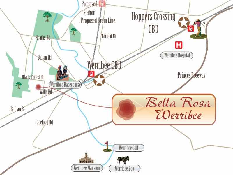 Bella Rosa Werribee Location map