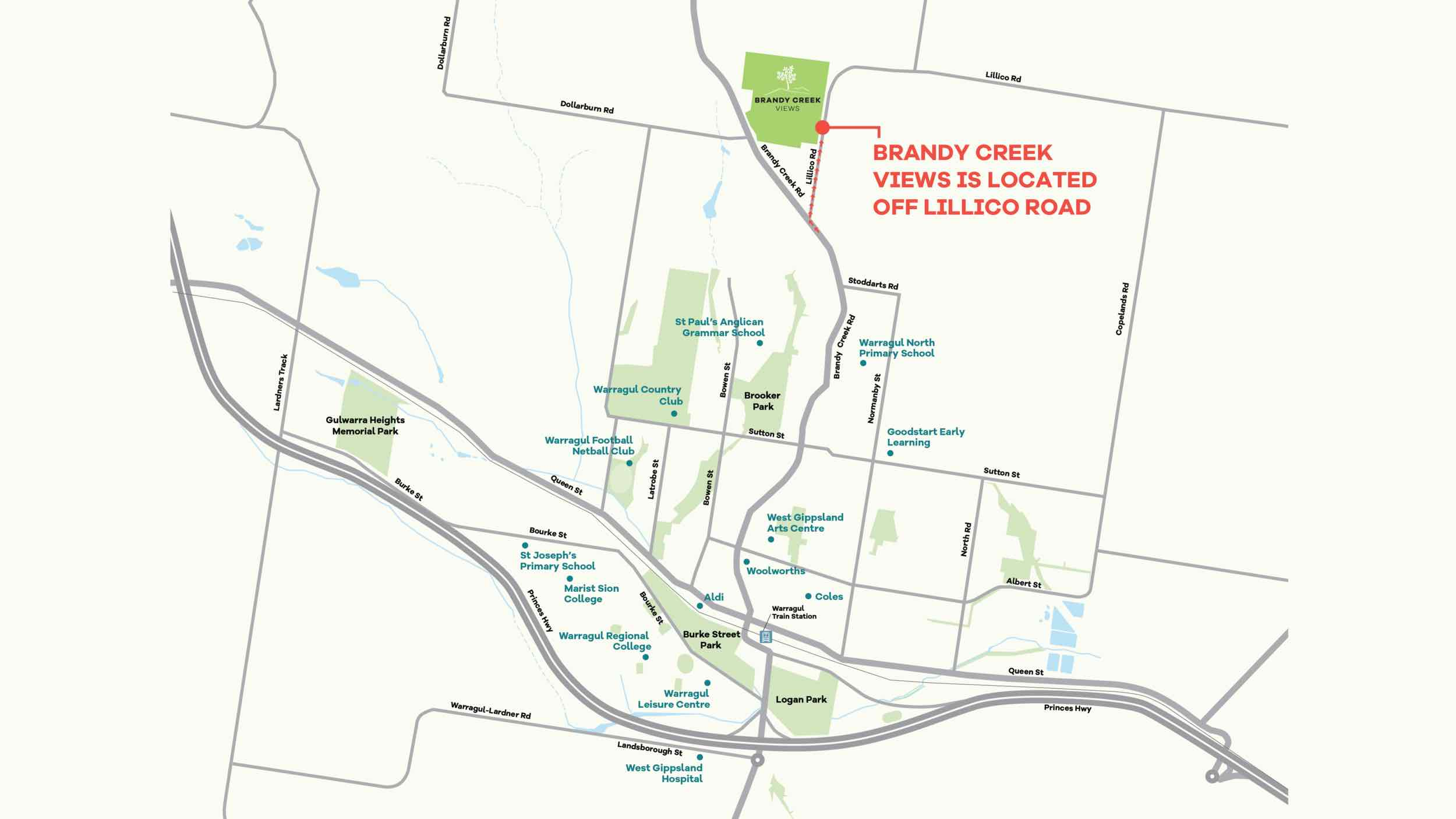 Brandy Creek Views Estate - Warragul Location map