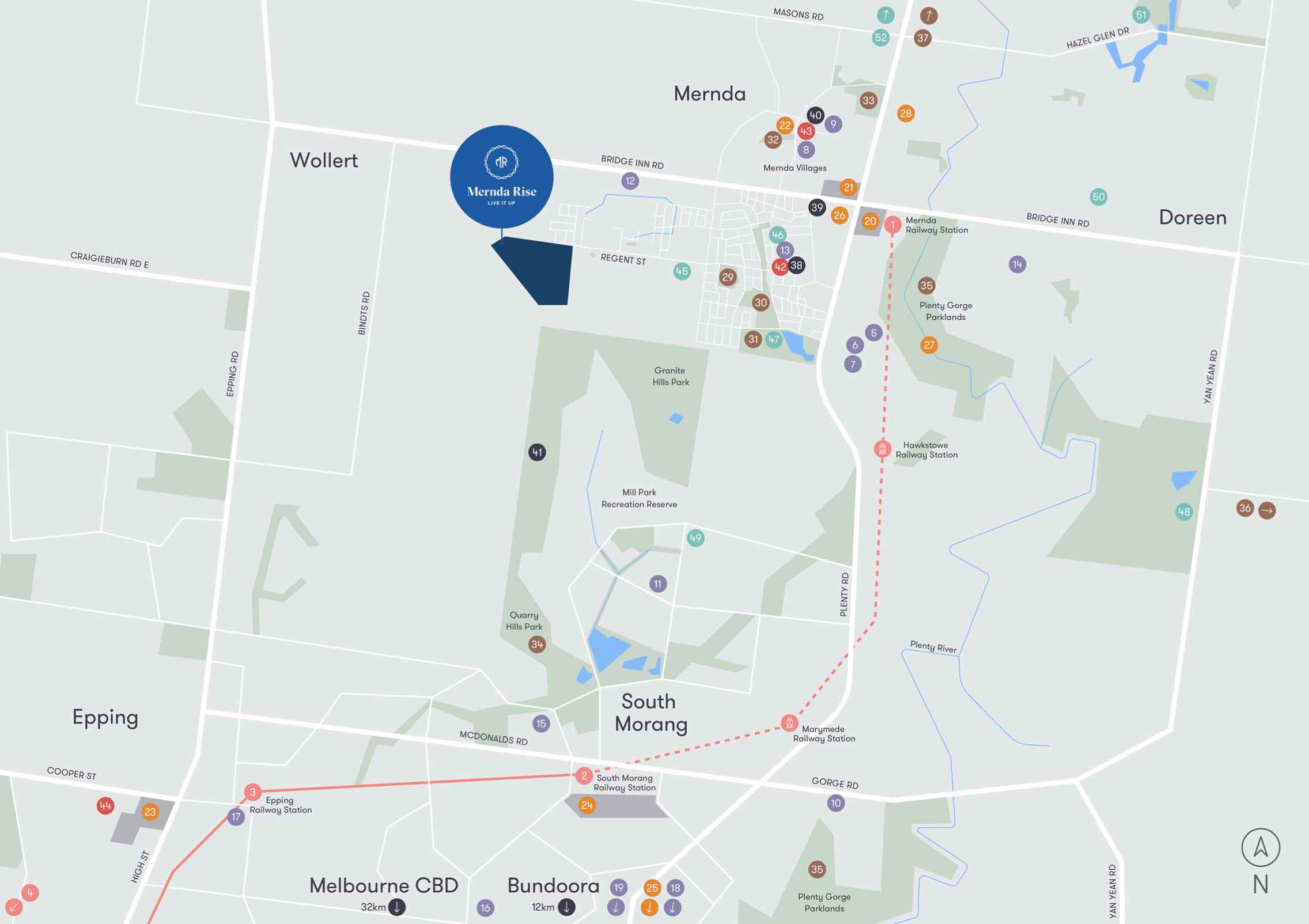 Mernda Rise Location map