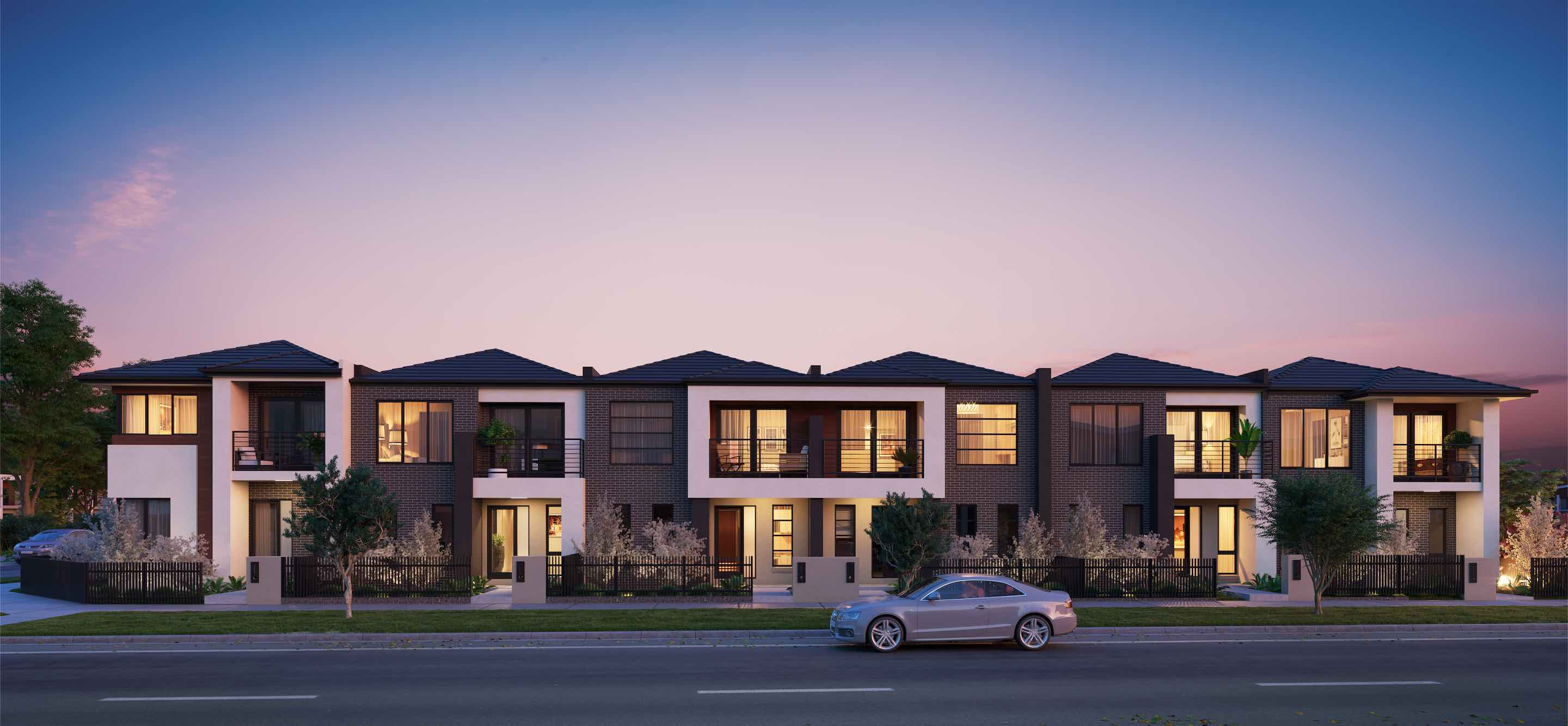 Mosaic Townhouses Estate - Lalor Render Dark