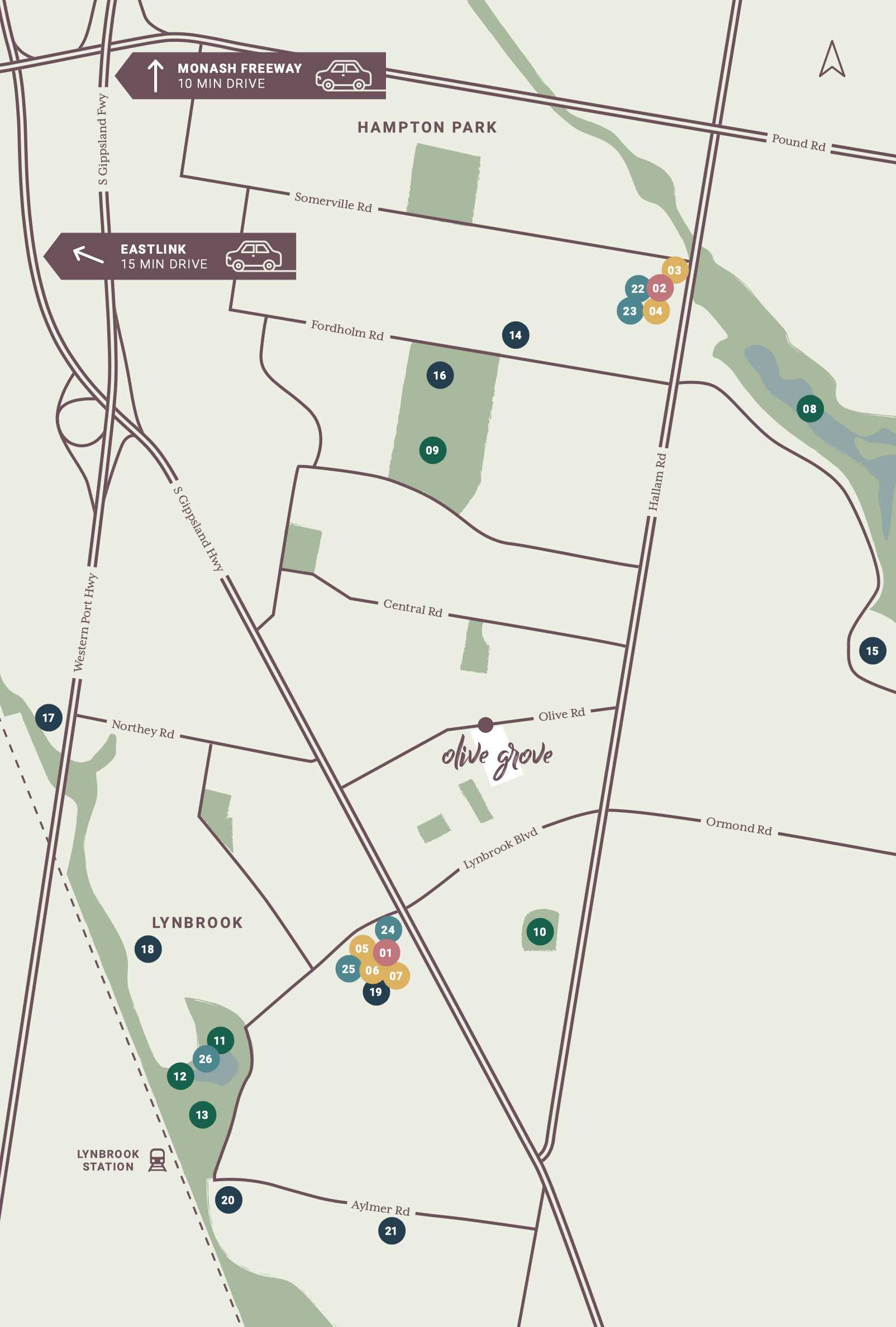 Olive Grove Estate - Lynbrook Location map