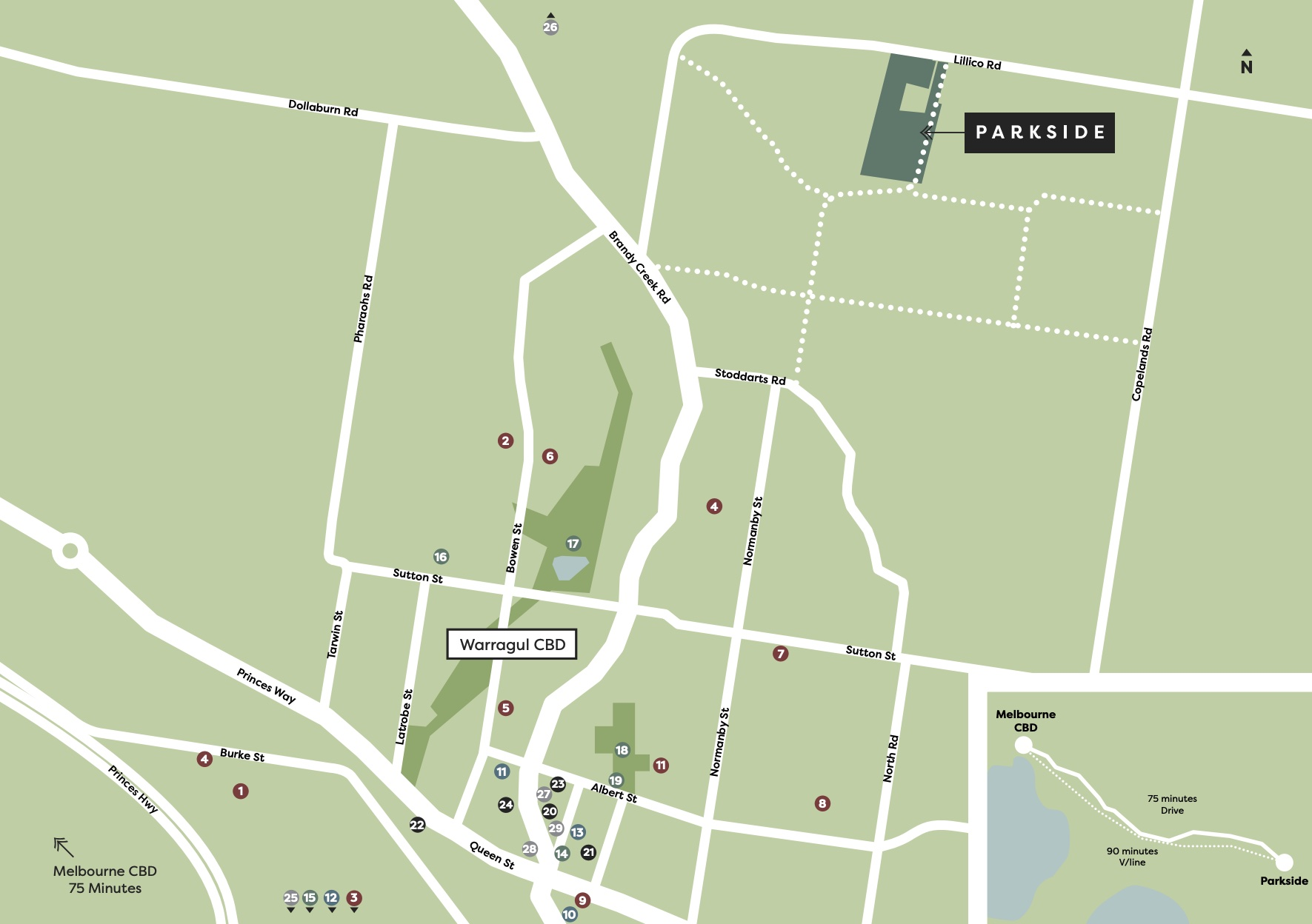 Parkside Estate - Warragul Location map