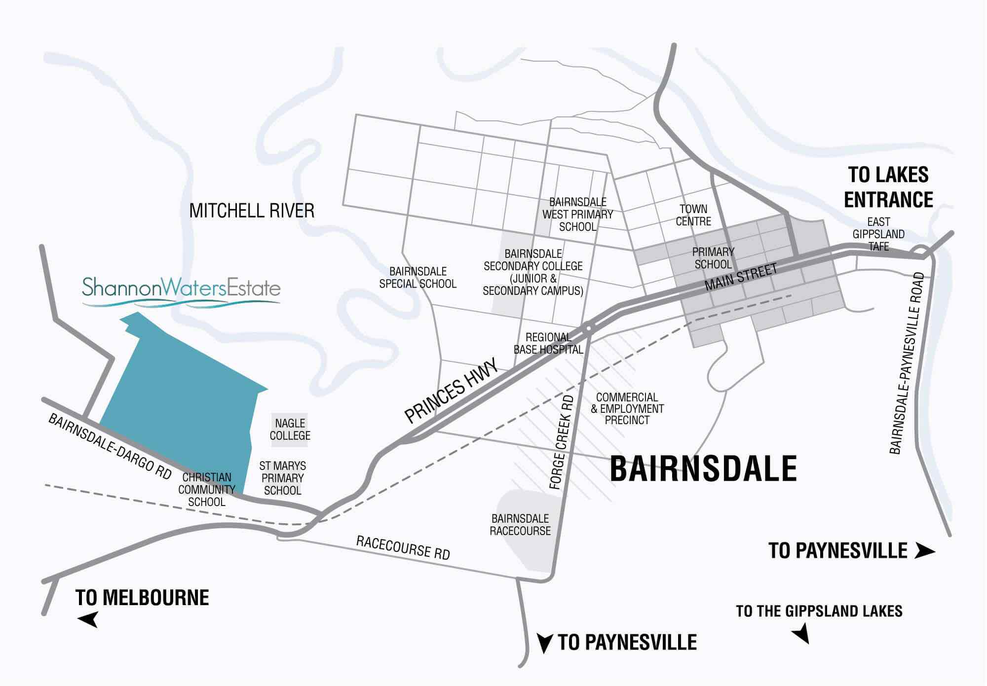 Shannon Waters Bairnsdale Location map