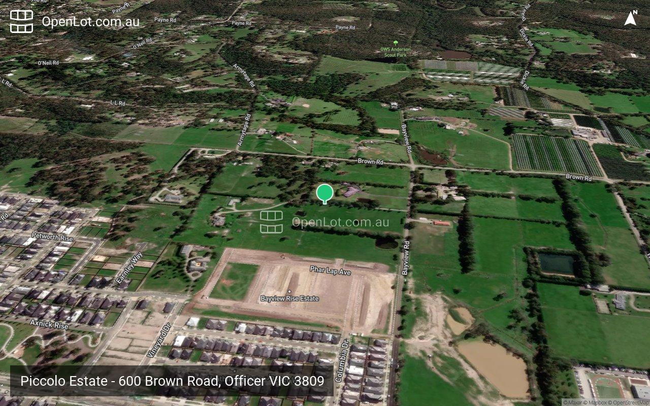 Satellite image for Piccolo Estate - 600 Brown Road, Officer VIC 3809